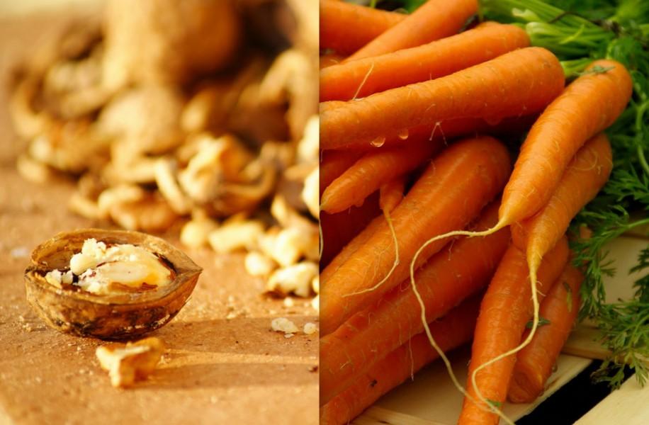 Das Fett von ein paar Walnüssen hilft das Beta-Carotin aus der Karotte aufzunehmen.